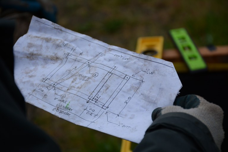 Blueprints for a trail structure. Photo by Anna Roth.