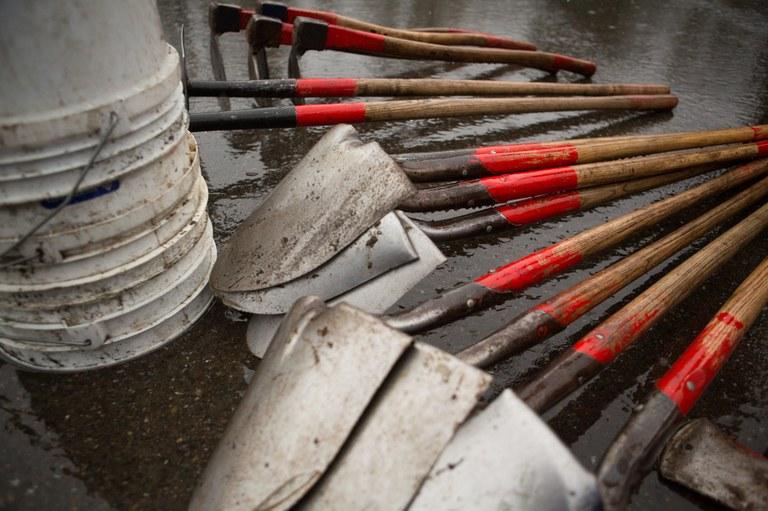 Rainy shovels. Photo by Erika Haugen-Goodman.