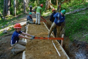 Volunteers build a turnpike at Indian Heaven. Photo by Ginger Sarver.