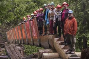 Volunteers built a foot log bridge at Lone Fir. Photo by Joe Hofbeck.