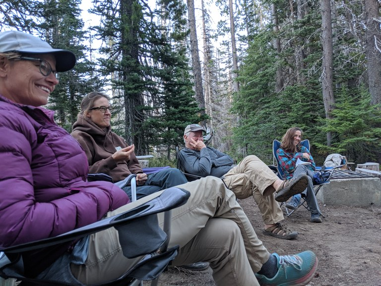 Volunteers relax after a long day of trail work. Photo by Own Vogeli.