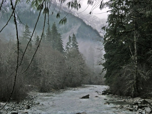The Middle Fork Snoqualmie River with a dusting of snow. Photo by bev.