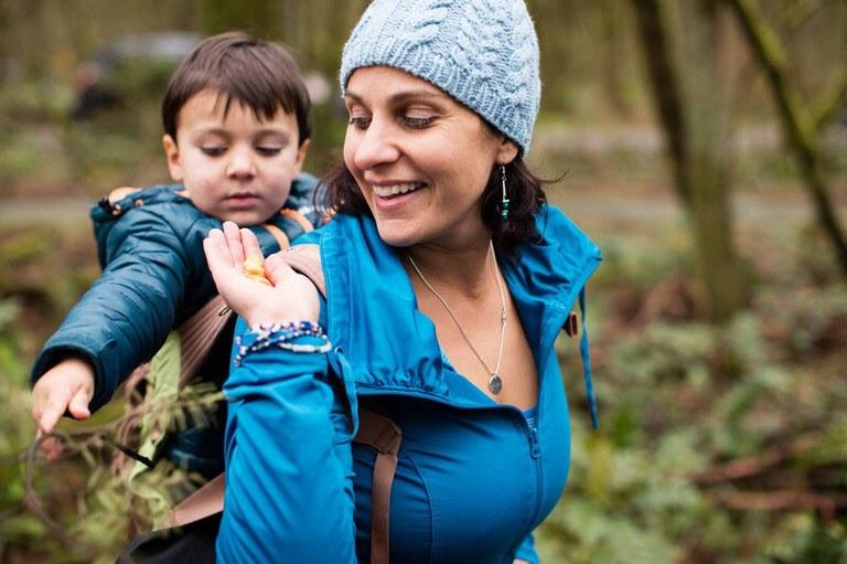 Mom and son hiking. Photo courtesy Shanti Hodges.