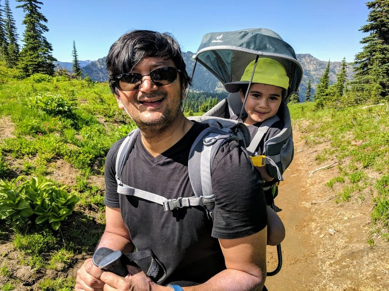 Father and son hiking. Photo by Jessica Bora.