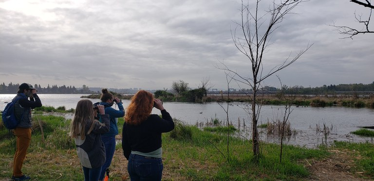 WTA Staff observing ducks at Union Bay Natural Area. Photo by trippal.