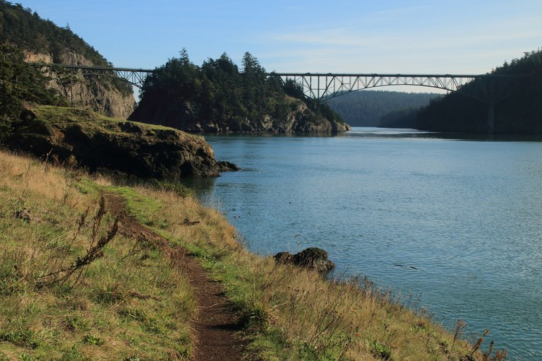 Deception Pass Bridge from Lighthouse Point. Photo by Tom Roe.