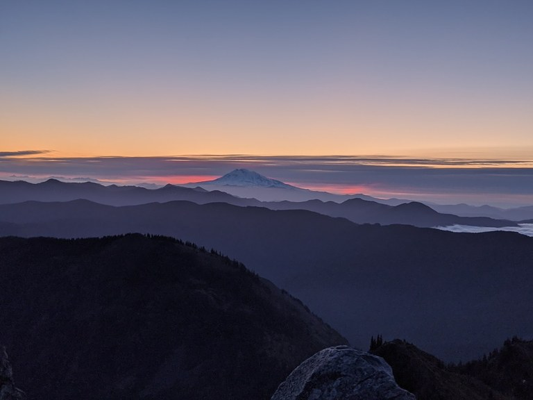 A view of distant peaks at dusk from Silver Star Mountain. Photo by Solohiker35.