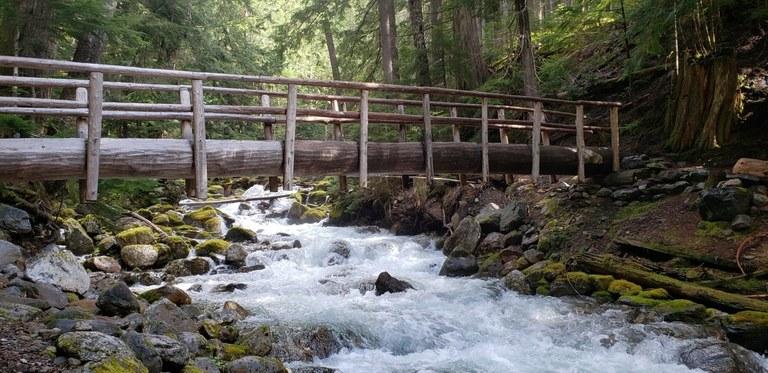 A wooden bridge crossing a rushing creek. Photo by Merritt.