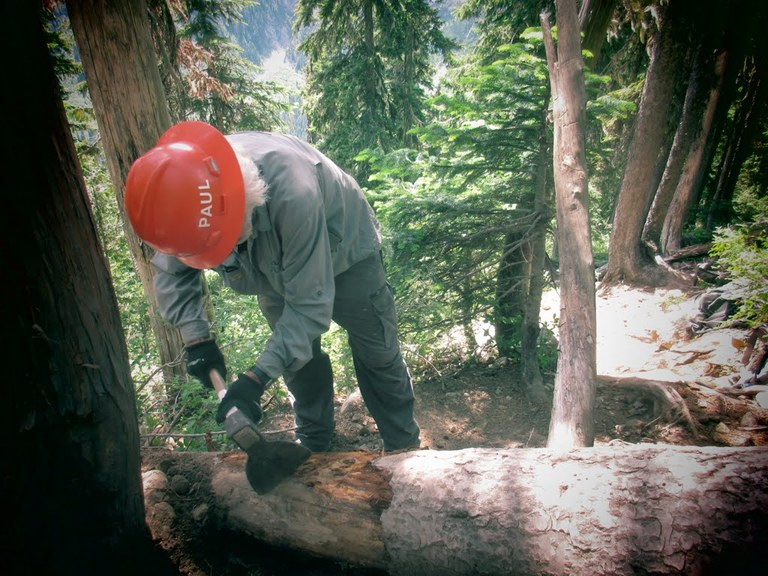 A volunteer scrapes the bark off a tree that is blocking the trail in preparation of cutting it with a crosscut saw. Photo by Gary Zink.