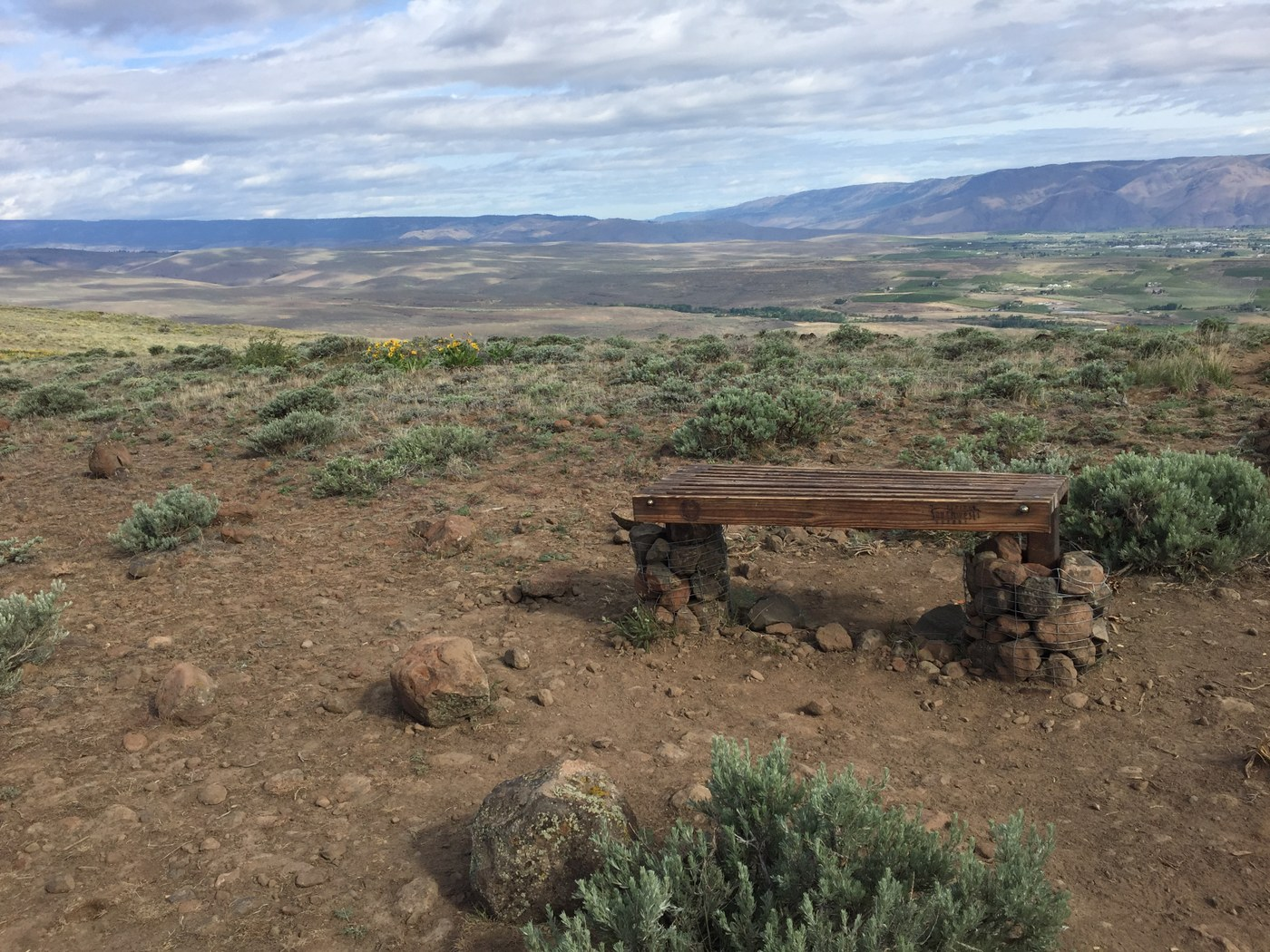 Bench overlooking the ranch. Photo by Henry.