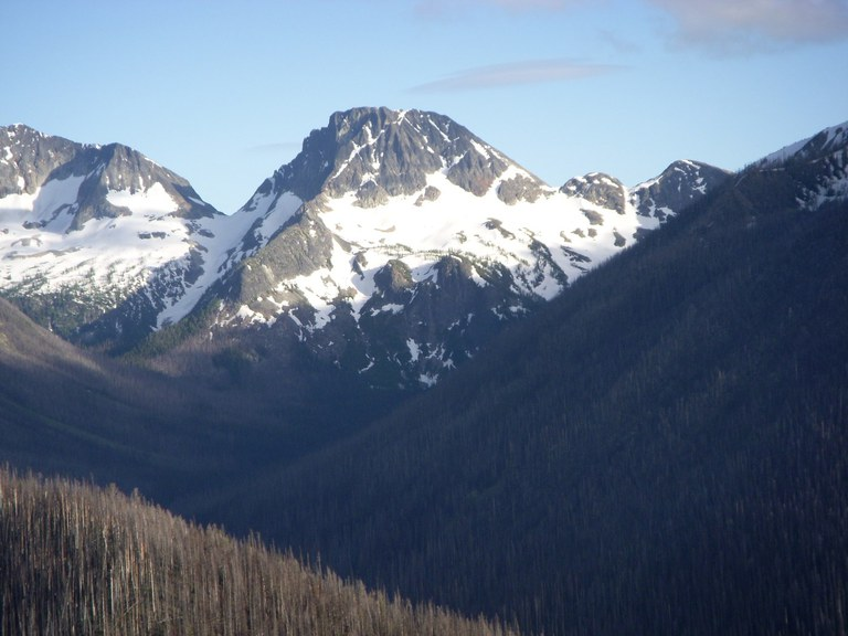 A valley is covered with burned trees and a rocky snow-covered peak rises in the distance. Phot by Dave n'gretchen.