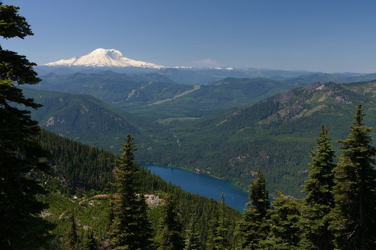 A view of Mount Rainier in the distance with a small lake in the foreground.