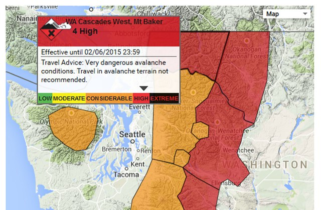 A picture of the avalanche warning map from the northwest avalanche center.