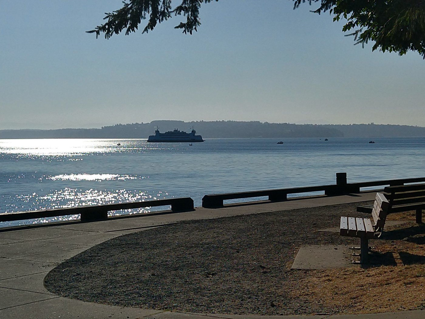 A paved trail curves around the puget sound waterfront. Photo by Criada.