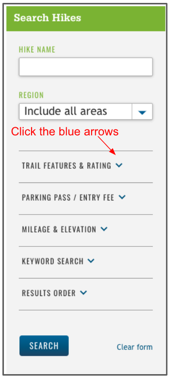 Hiking Guide Filters Menu