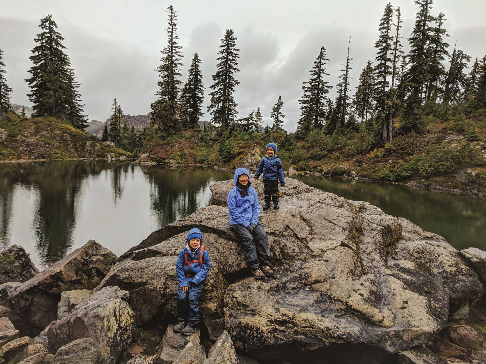 Matching rain gear at Independence Lake.