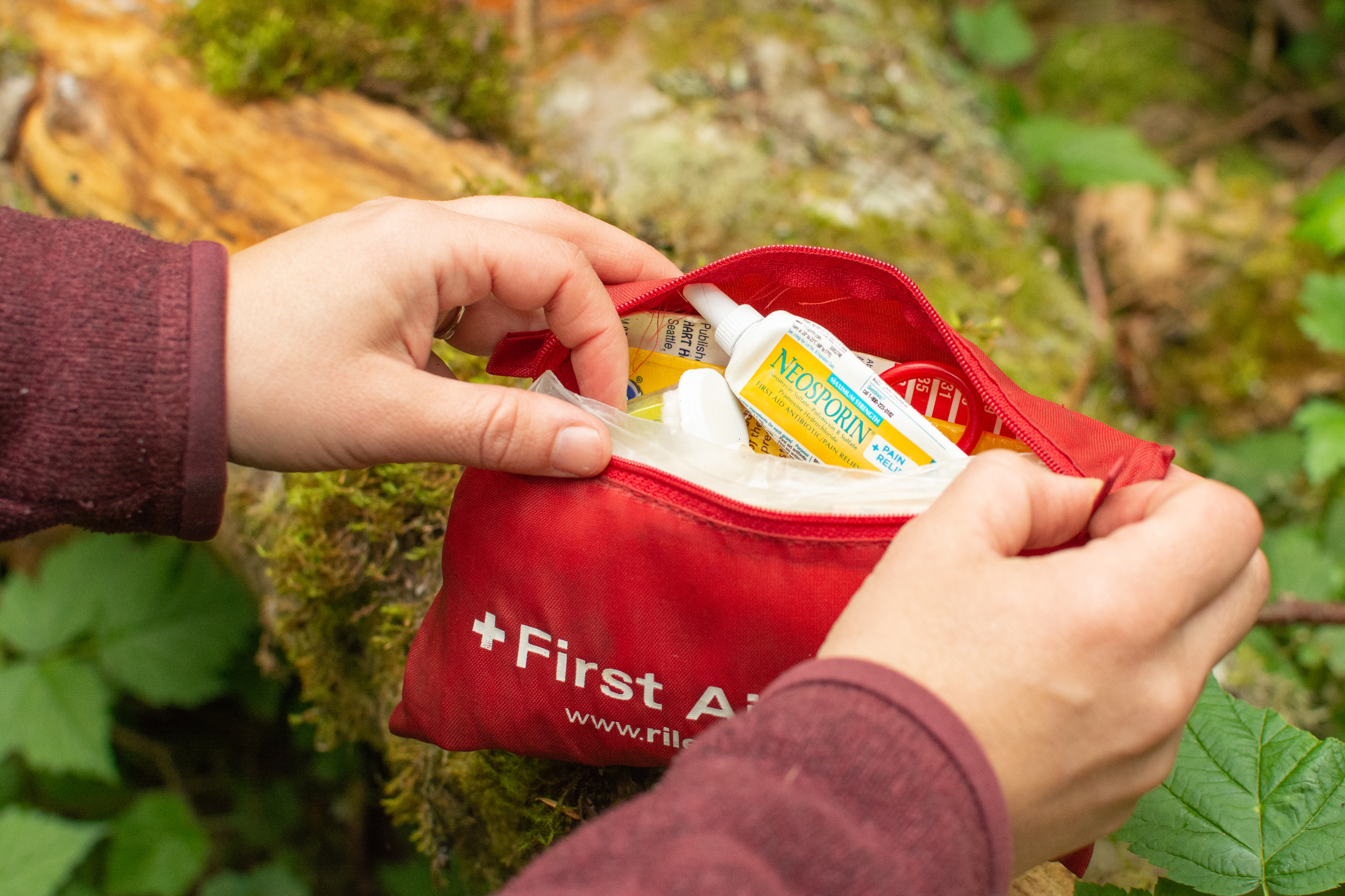 First Aid Kit on trail.
