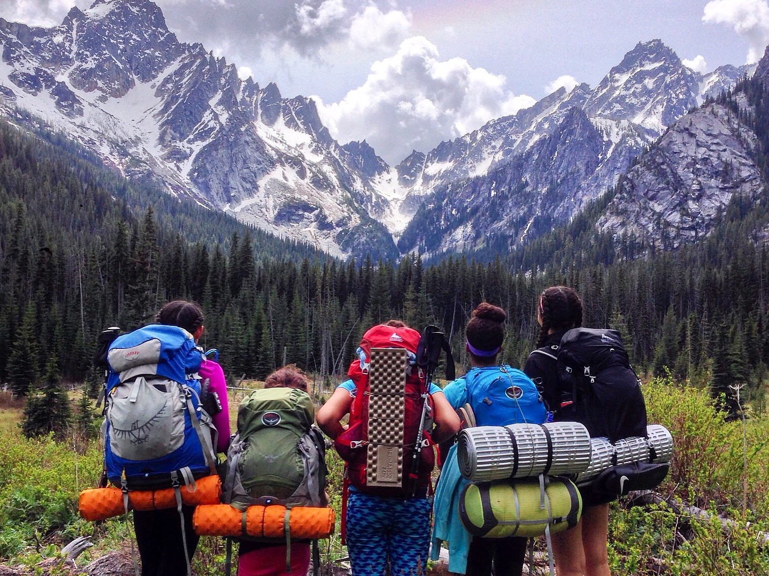 A row of hikers stand looking away from the camera and up at a snowy peak in the distance. They are all wearing large backpacking packs with assorted gear strapped on the exterior.