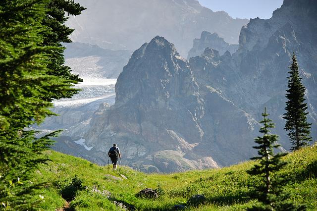 Hiker approaching Emerald Ridge in Mount Rainier National Park