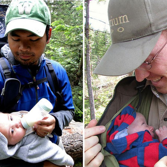 Men hiking with infants