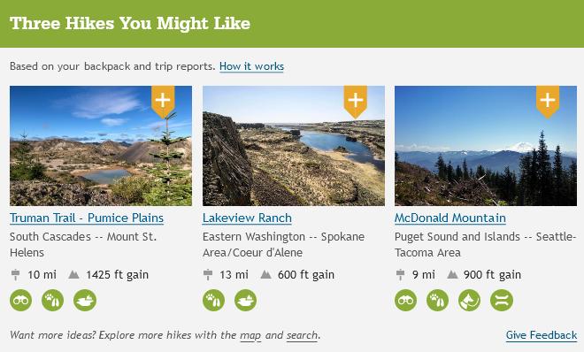 Screenshot of hike suggestions
