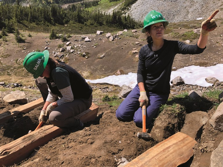 Latina Trail Crew building steps at Mount Rainier National Park.