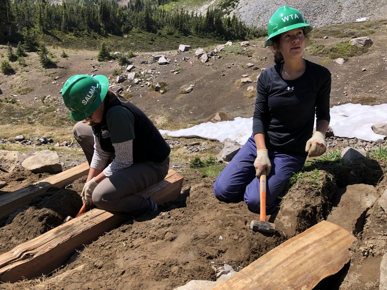 Latina trail crew working on stairs at Mount Rainier National Park.