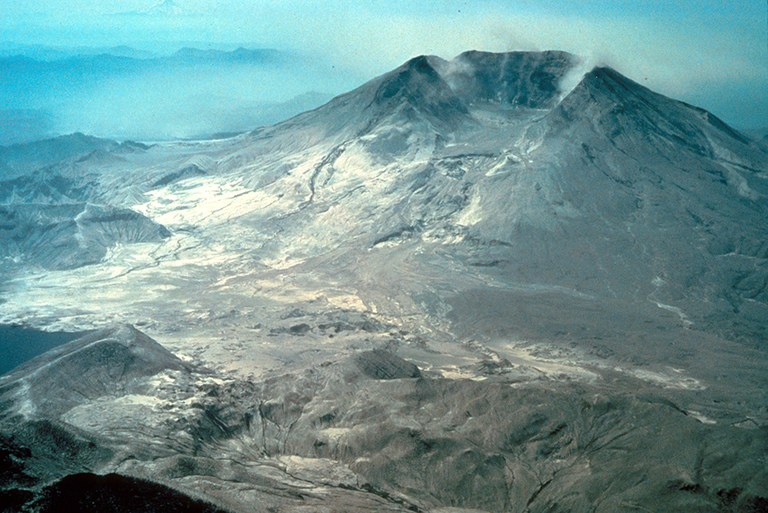 Crater and ash flowers after blast of Mount St. Helens.