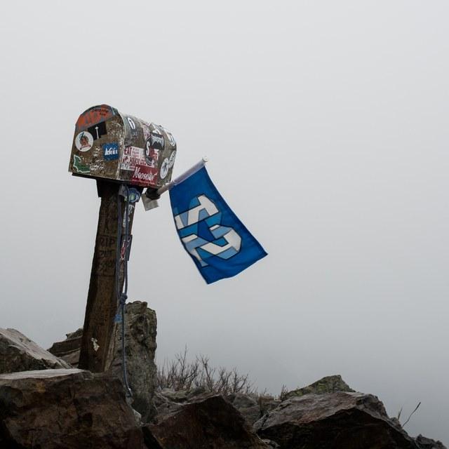 Flag and Fog on Mailbox Peak
