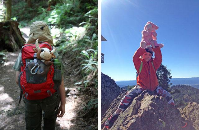 kids with stuffed toys on trail brett spore