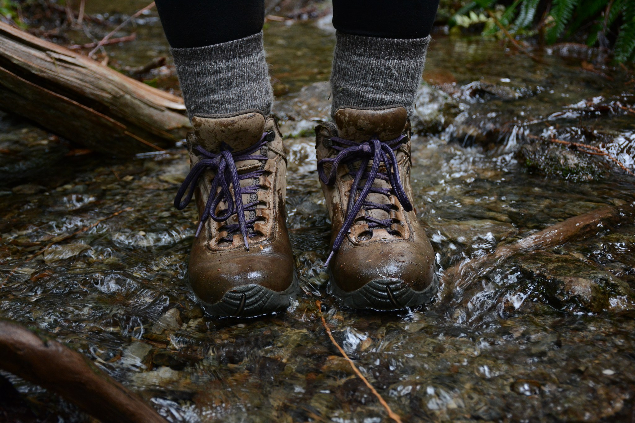 Testing the waters in a pair of leather waterproofed boots. Photo by Erik Haugen-Goodman.