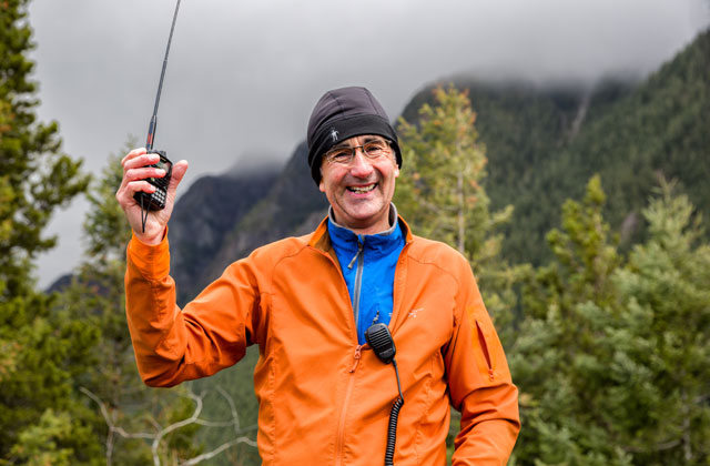 A happy Tim Nair after a successful SOTA activation. Photo by Daniel Silverberg.