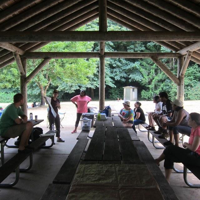 A WTA leader teaches navigational skills during an Outdoor Leadership Training workshop.