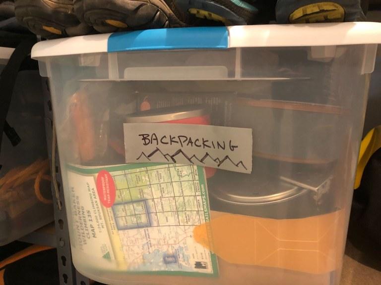 Backpacking storage bin