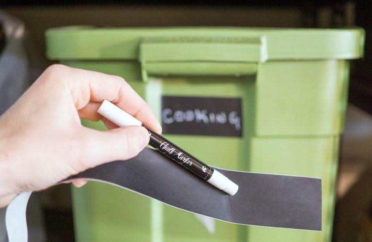 Chalkboard tape for bins