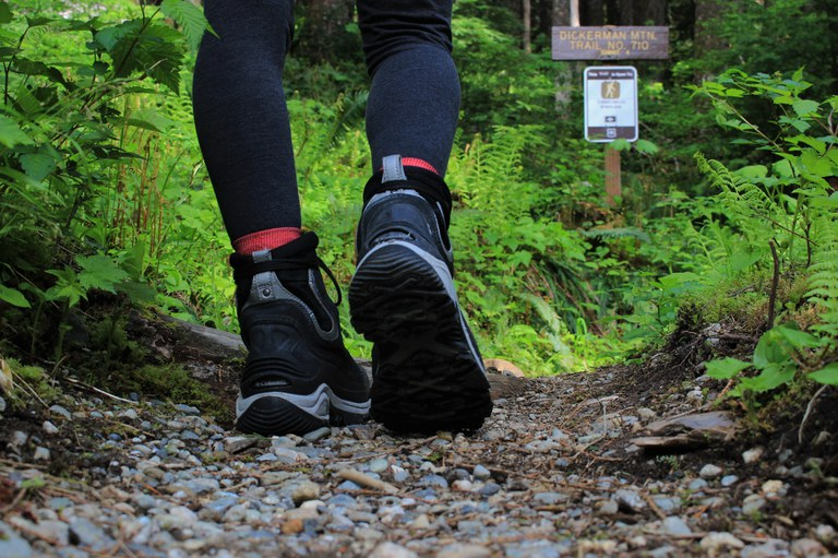 Clean hiking boots on the trail. Photo by Sara Madura.