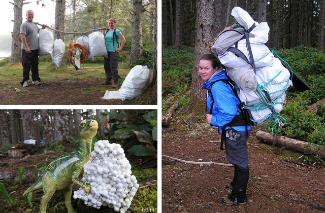Ultra-heavy hikers practice their agility with supersized packs of trash from trails. Even non-humans can get behind this method of weight training. Photos by Kelsie Donleycott and Ken Donleycott.