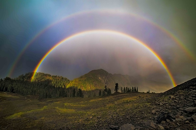Double rainbow at Artist Point. Photo by Clement Stevens