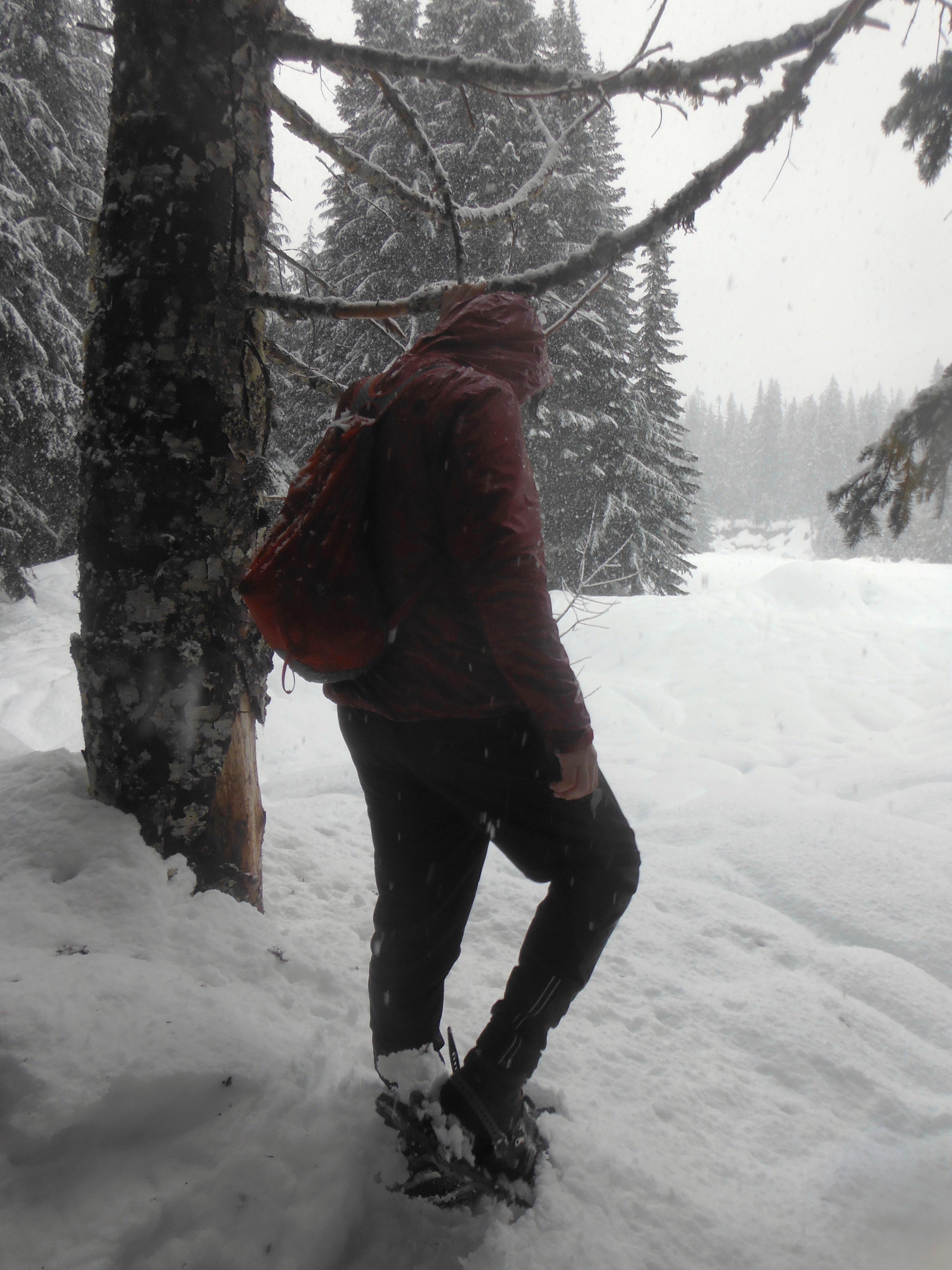 Student in winter wonderland