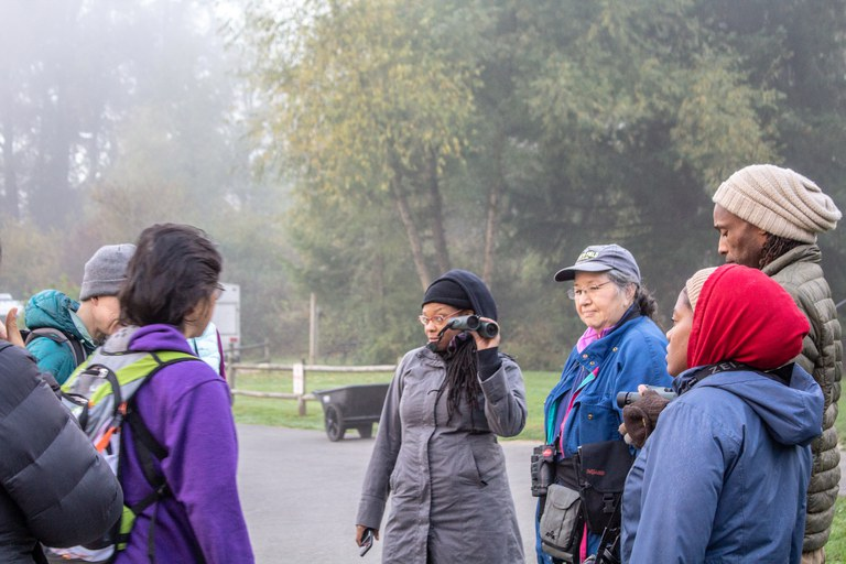 A group of Refuge attendees head off on a morning bird watching session.