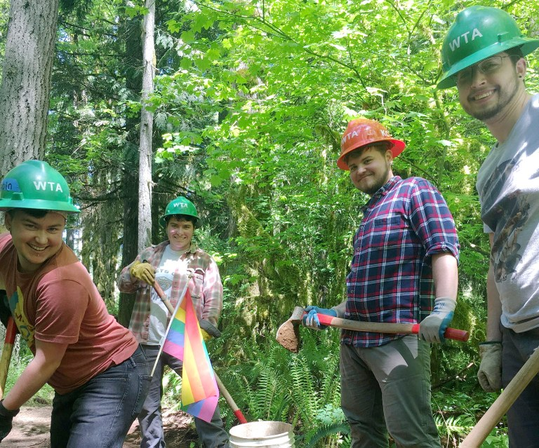 smiling volunteers from WTA's first LGBTQ work party