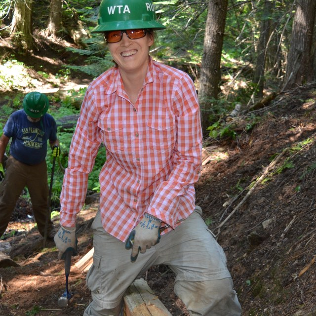 smiling volunteer on red bluff trail todd dunfield