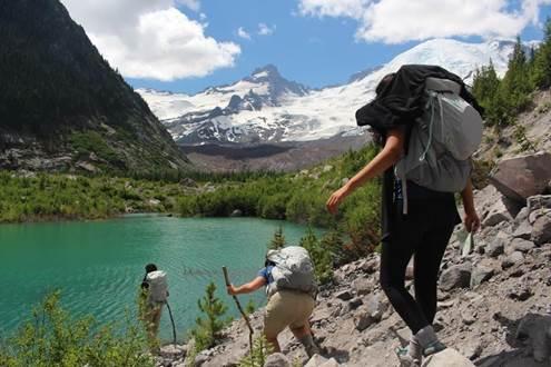 Latina Trail Crew explore an unnamed at Mount Rainier. Photo by Michelle Piñon