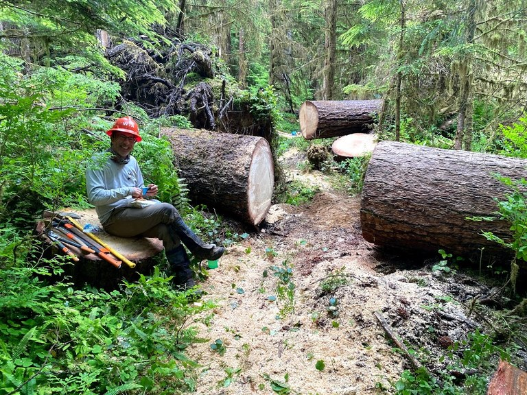 A happy volunteer sits next to some recently cleared logs.