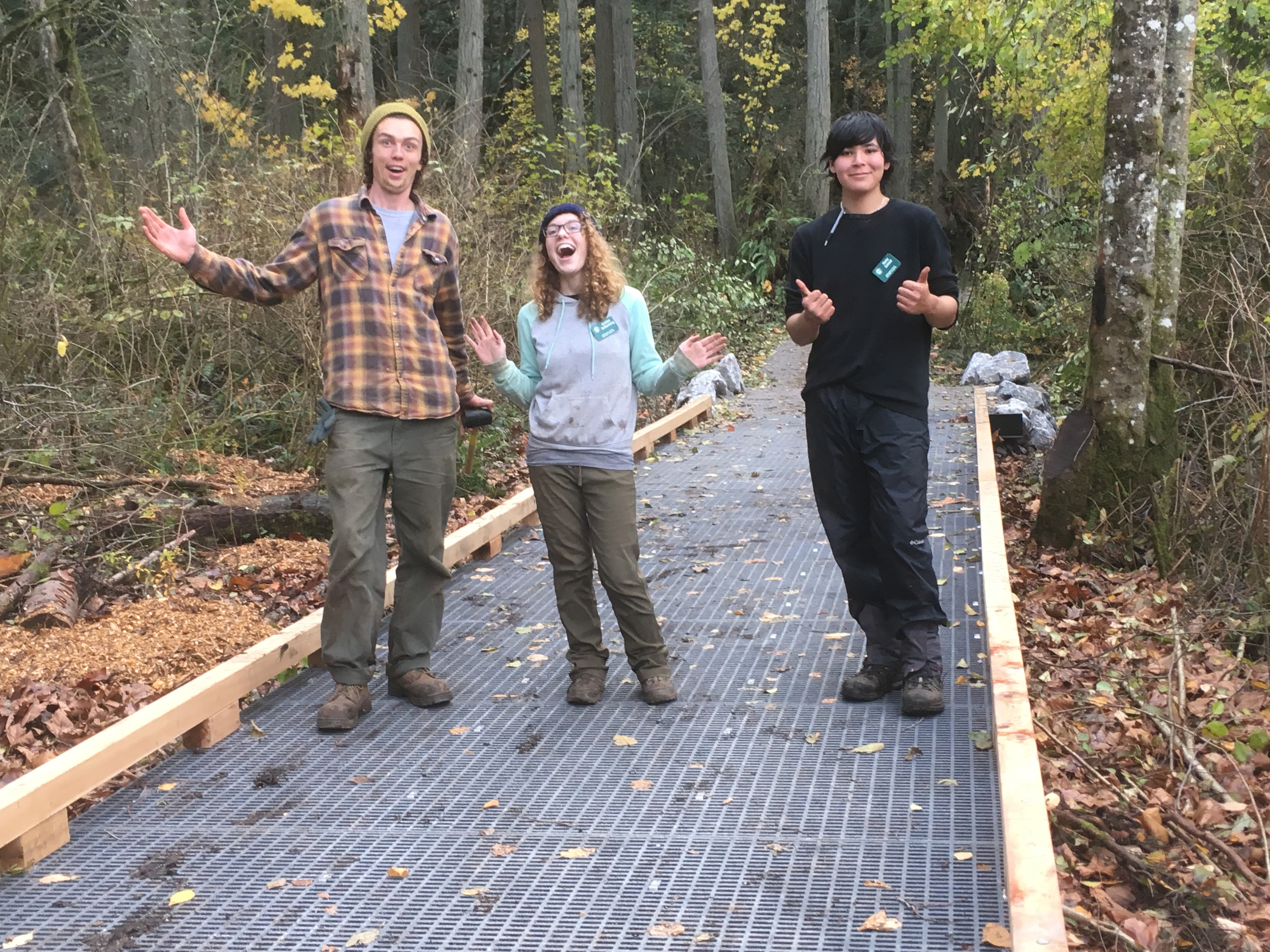 Jackson, Kristen & Ricky on new trail by Rae Edwards with City of Bellingham Parks and Rec.JPG