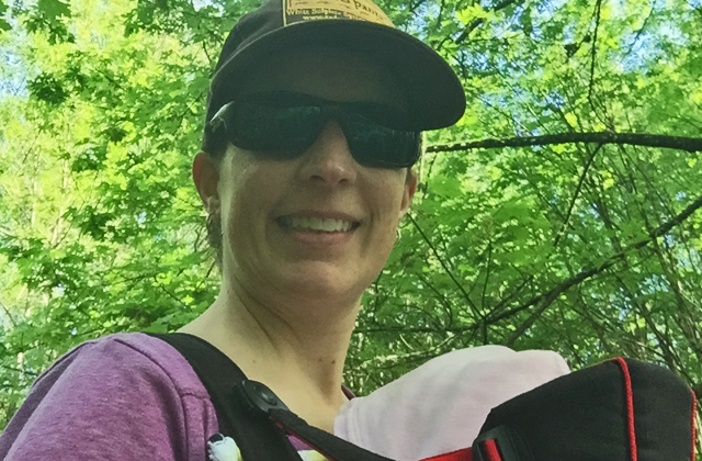 Krista hiking with AJ