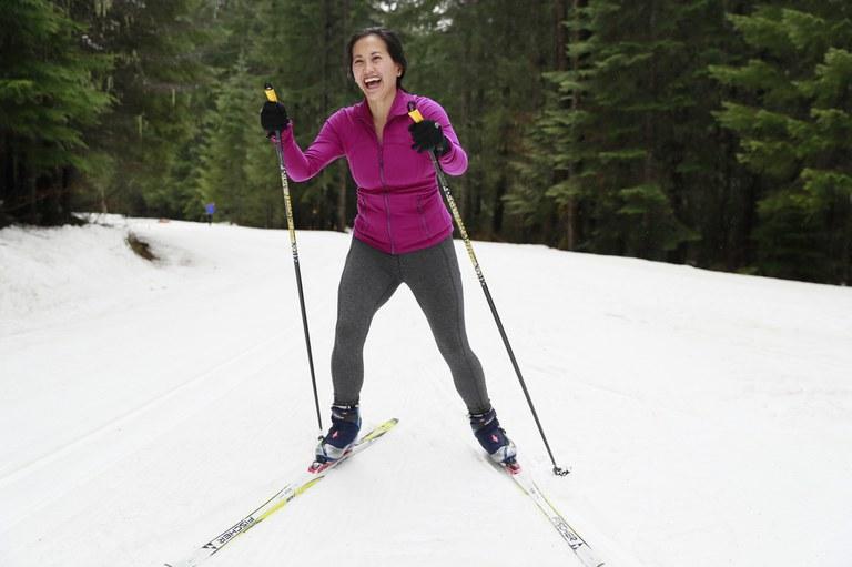 Nicole on skis.