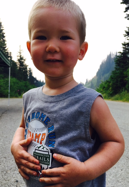 One of the smallest hikers at Snow Lake trailhead by Crystal Gartner