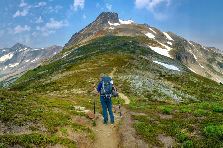 A hiker stands in front of a scenic trailscape with trekking poles in hand.