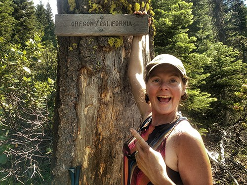 smaller-Heather Anish Anderson on PCT at Oregon-California border; image credit Heather Anderson.jpg
